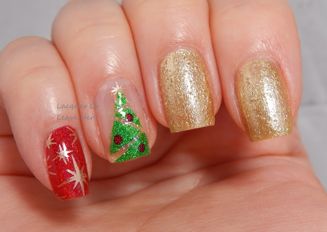 Christmas tree skittle mani nail tape