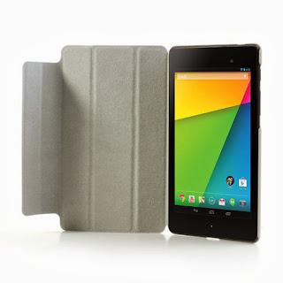 Tri-Fold Folio Stand Leather Case Cover for Asus Google Nexus 7(2013) II 2nd Generation - Orange