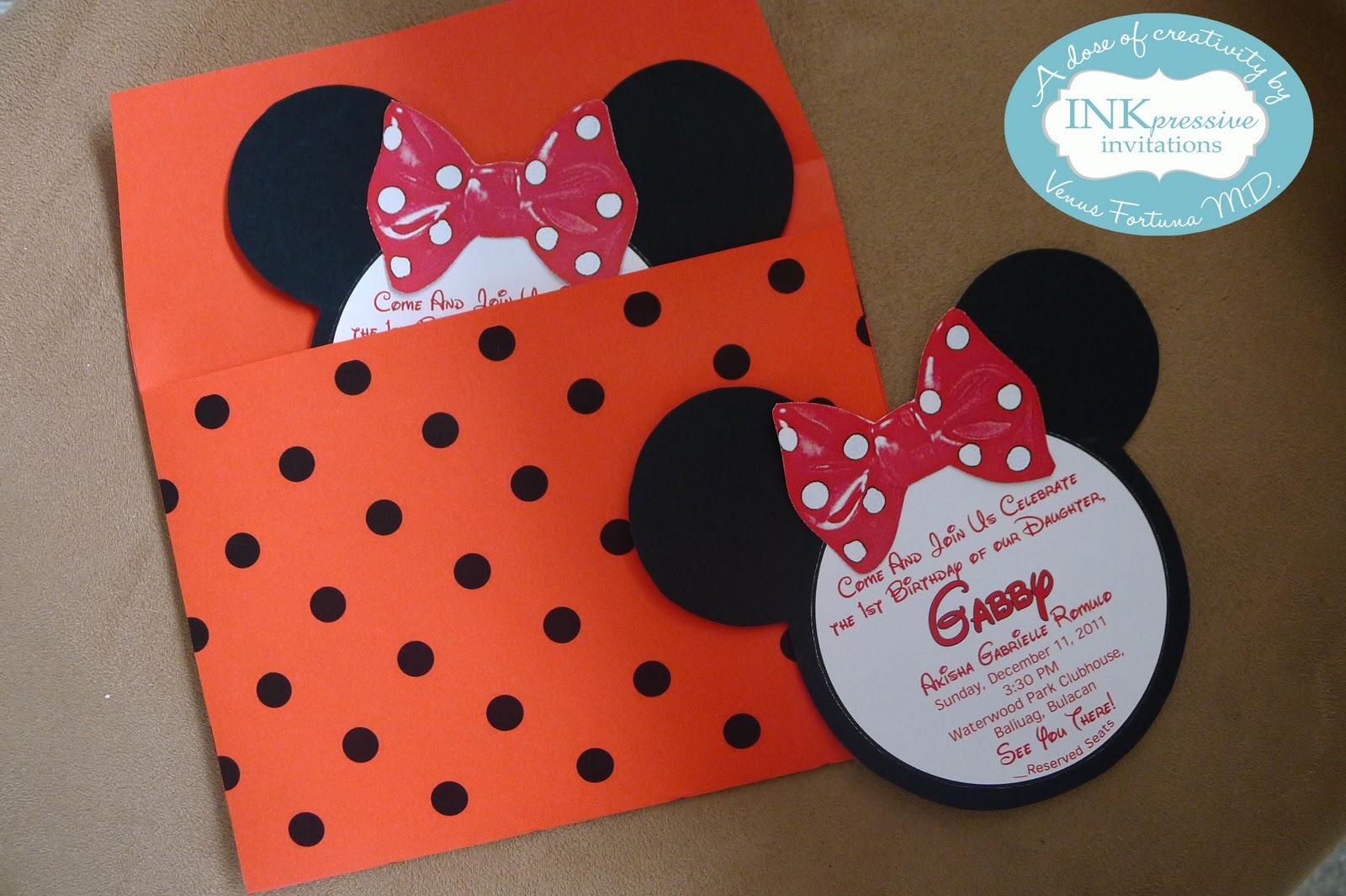 Minnie Mouse Theme Party Invitation | KIDDIE INVITATIONS