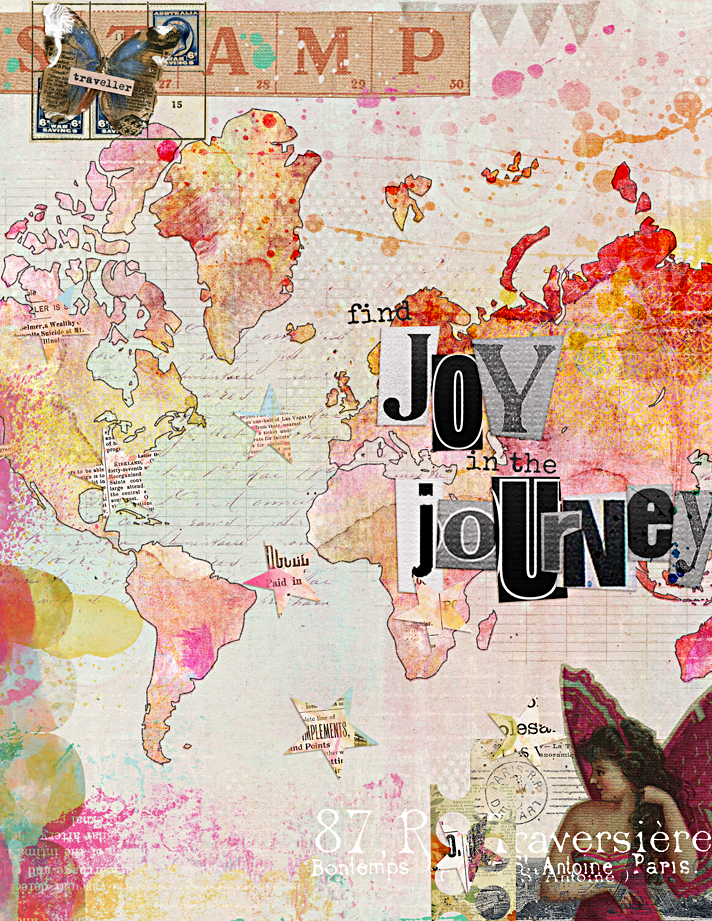 Mixed Media Digital Art Journal page - Find Joy In the Journey | Mixed Media Monthly at The Lilypad