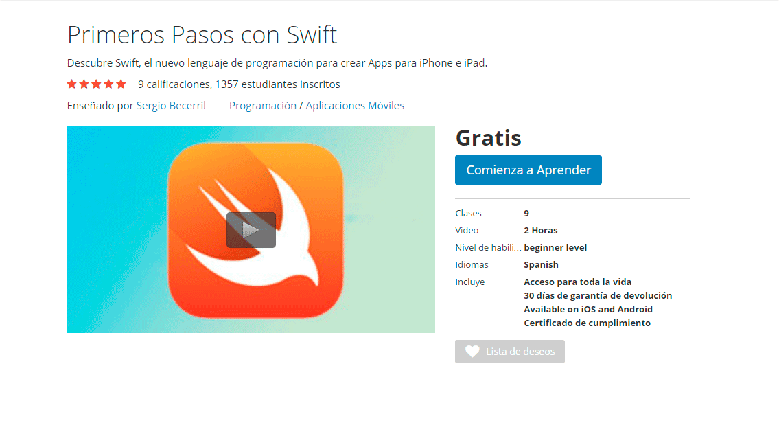 Primeros Pasos con Swift udemy