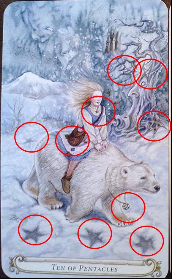 ไพ่ยิปซี สัญลักษณ์ East of the Sun ชุดไพ่ยิปซี ไพ่สิบเหรียญ Ten of Pentacles Golden Compass ไพ่ทาโรต์ Lisa Hunt ไพ่ Fairytale Tarot ไพ่ทาโร่แฟรี่เทล หิมะ น้ำแข็ง