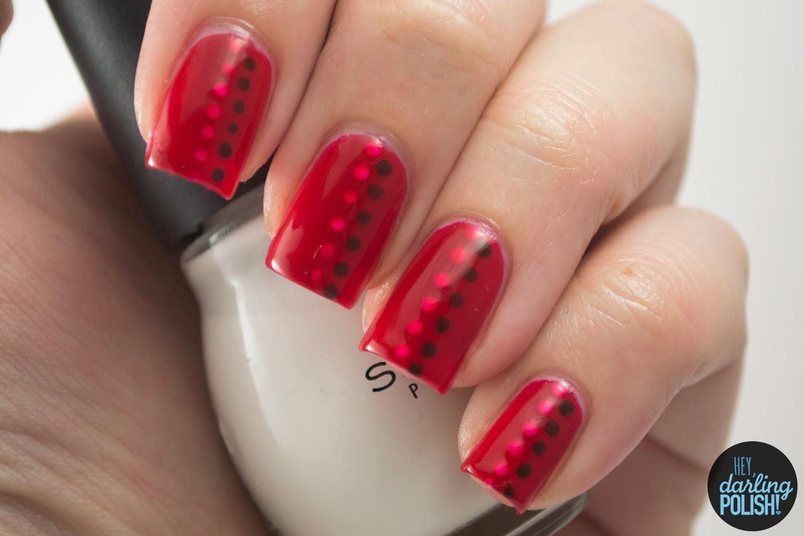 nails, nail art, nail polish, polish, red, jelly, hey darling polish, the never ending pile challenge, dots