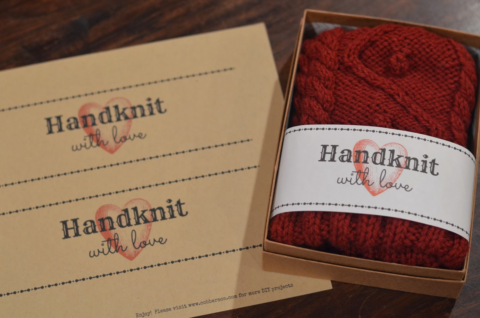 Cobberson & Co. free printable handknit gift tag
