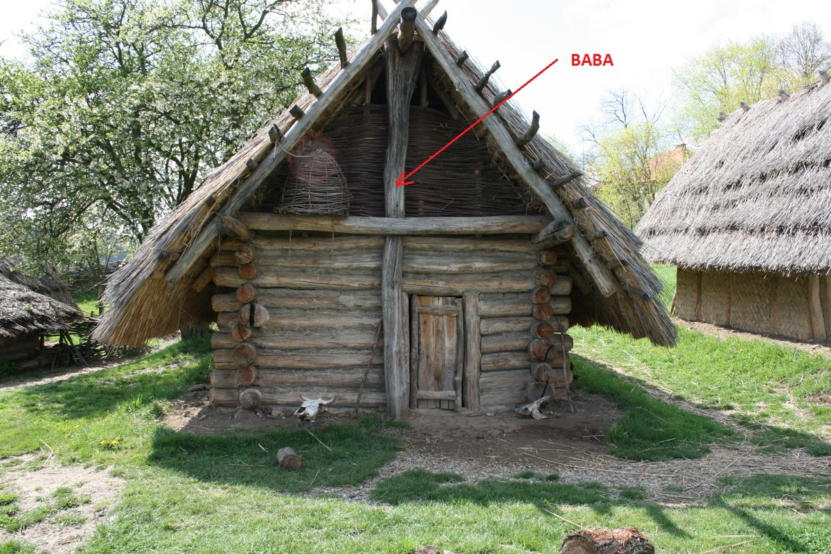Old european culture baba the main column pole that for Wood cabin homes