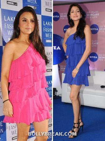preity in pink and Anushka in blue - Ruffle Dresses - Who looks better ??