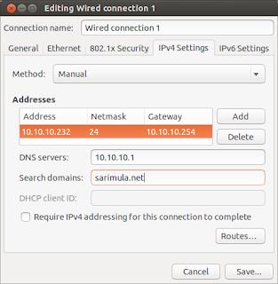 Konfigurasi jaringan Ubuntu 13.04