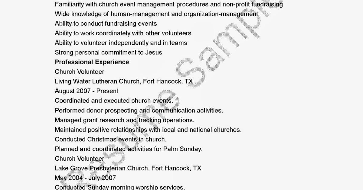 Church volunteer resume sample