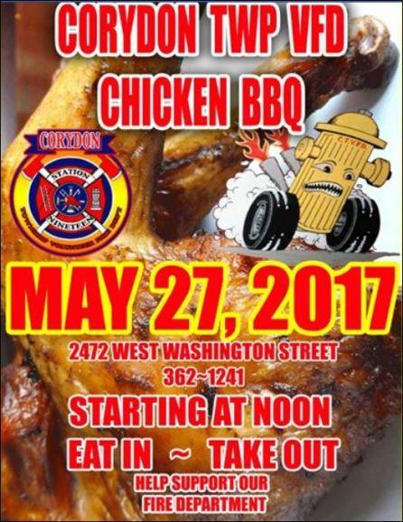5-27 Chicken BBQ, Corydon Township VFD