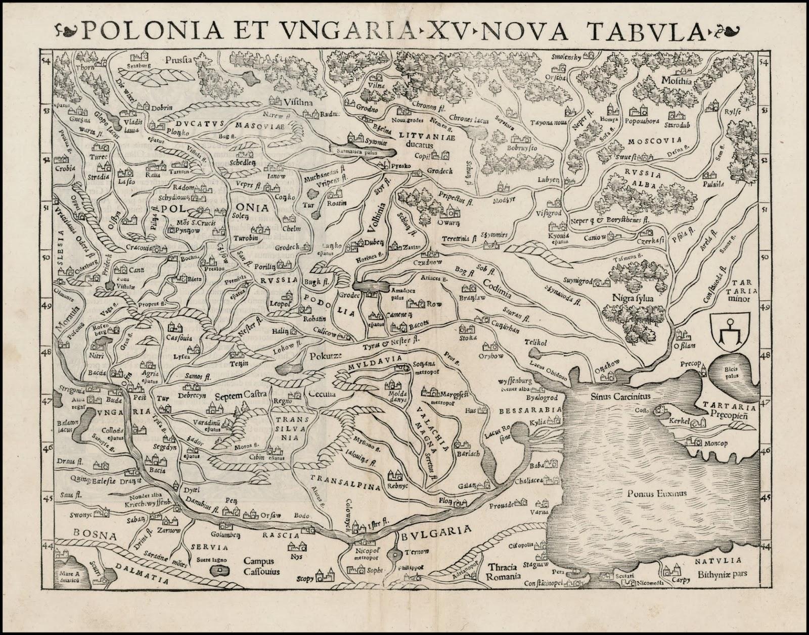 1550 POLONIA ET VNGARIA NOVA TABVLA