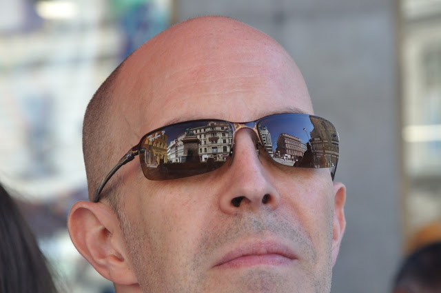 Prague reflected in sunglasses