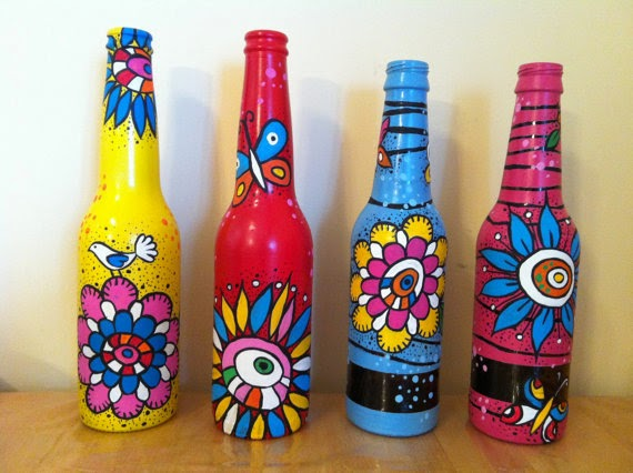 Recycle craft decorative painted bottle ideas creative for Bottle arts and crafts