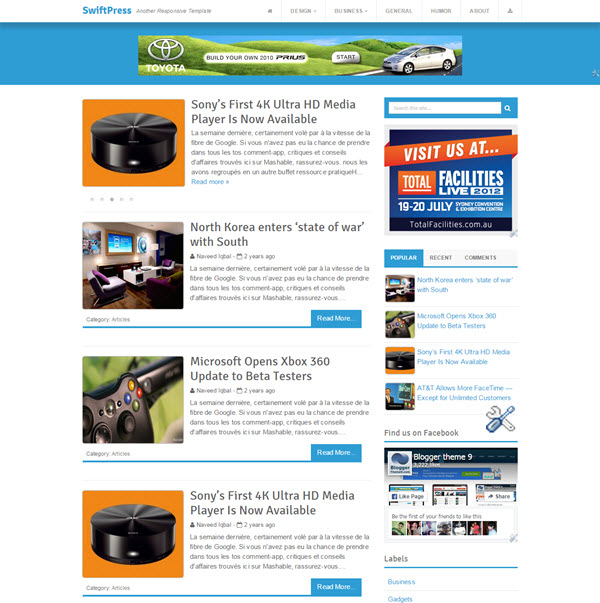 SwiftPress Blogger Template