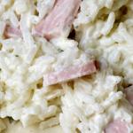 Riz au fromage ail et fines herbes et au rôti de porc (gloubi-boulga #3)
