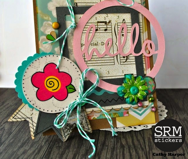SRM Stickers Blog - A Summer Hello by Cathy H. - #card #hello #stickers #twine #punched pieces
