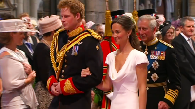Prince Harry and Pippa Middleton followed by Prince Charles. YouTube 2011.
