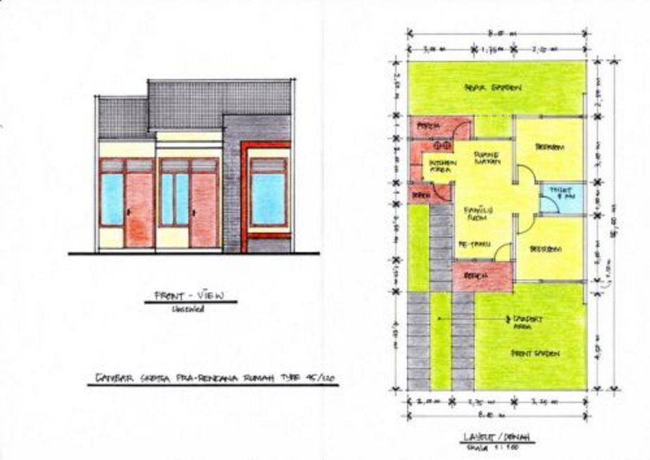 layout denah rumah minimalis type 45 yang bagus
