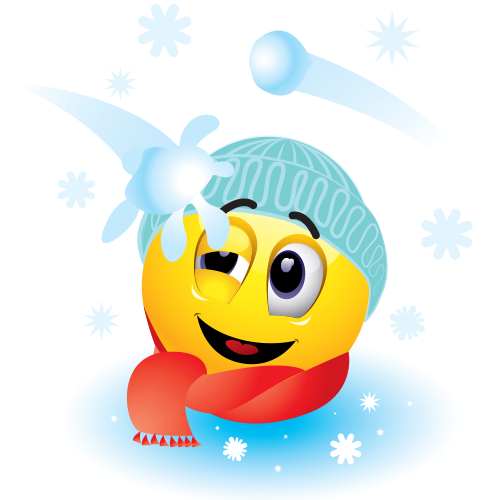 Emoticon hit by a snowball