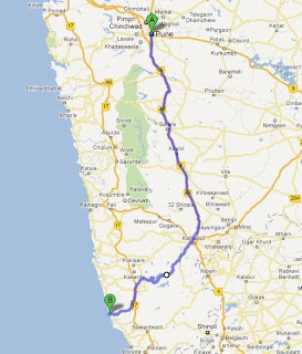 Pune to Malvan Road Map