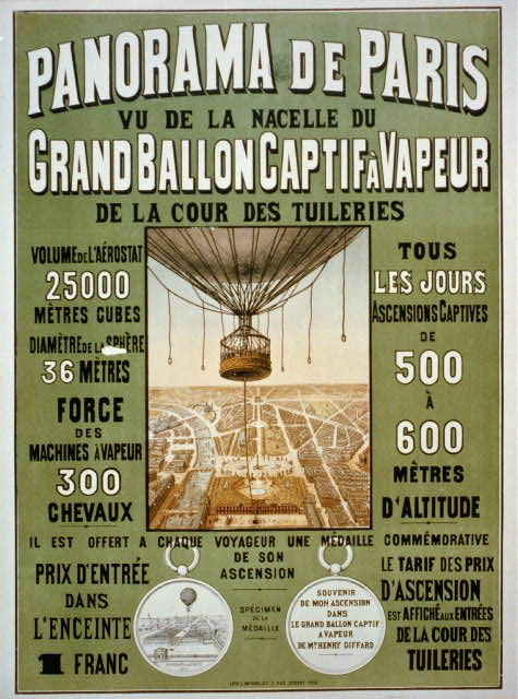 vintage, vintage posters, travel, travel posters, worlds fair, paris, french poster, advertising, graphic design, free download, classic posters, retro prints, 1878 World's Fair - Panorama de Paris. Vu de la nacelle du grand ballon captif à vapeur de la cour des Tuileries - Vintage Paris Poster