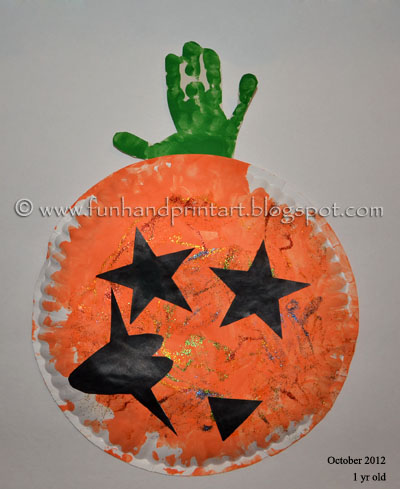 Arts & Crafts: Paper Plate Pumpkin Handprint Craft & Poem for kids
