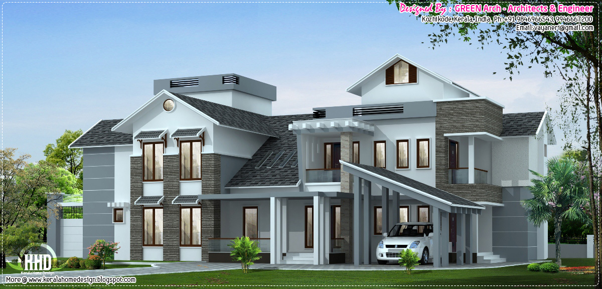 Luxury house elevation 3700 sq feet kerala home design and floor