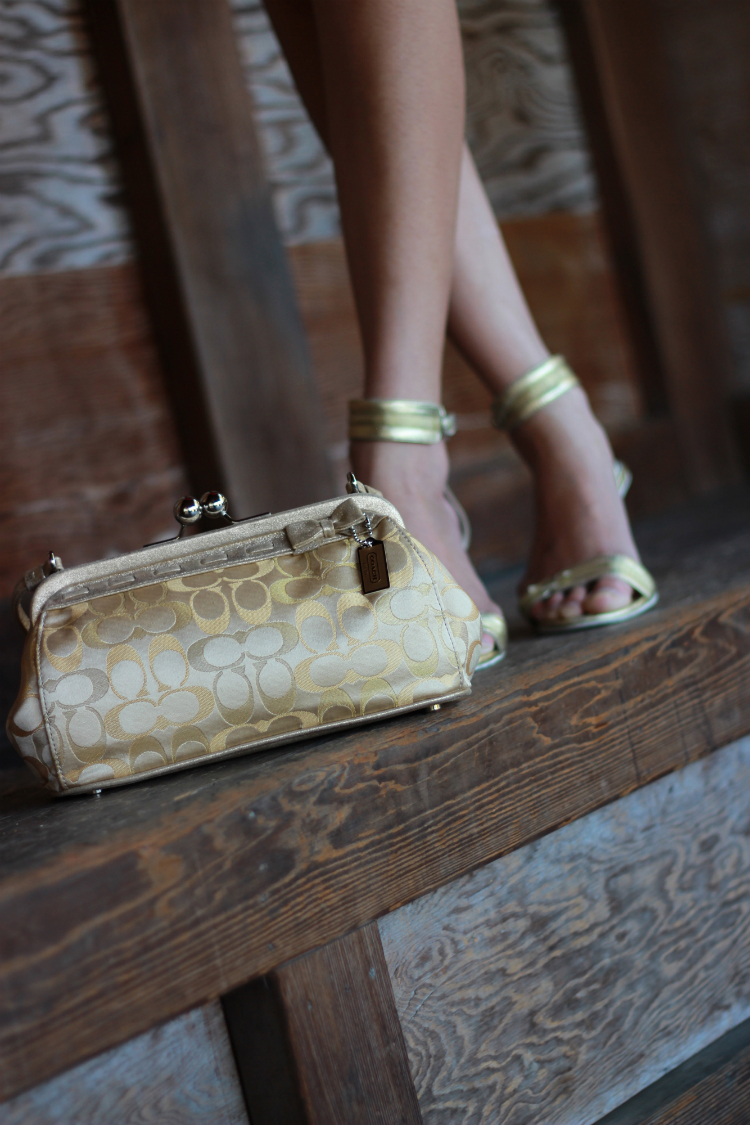 gold accessories handbag shoe heels