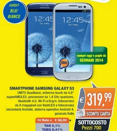I possessori della carta Unika di Oasi fino al 5 ottobre 2013 potranno acquistare il Samsung Galaxy S3 in sottocosto a 319,99 euro