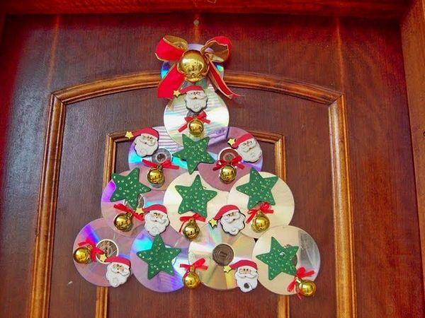 Armario Oficina Puerta Persiana ~ Artesanato e reciclagem com CD Enfeites de Natal! arte e palavra