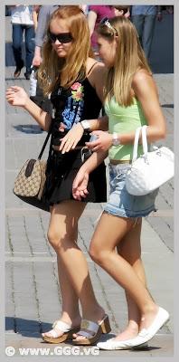 Girls in jean mini skirt on the street