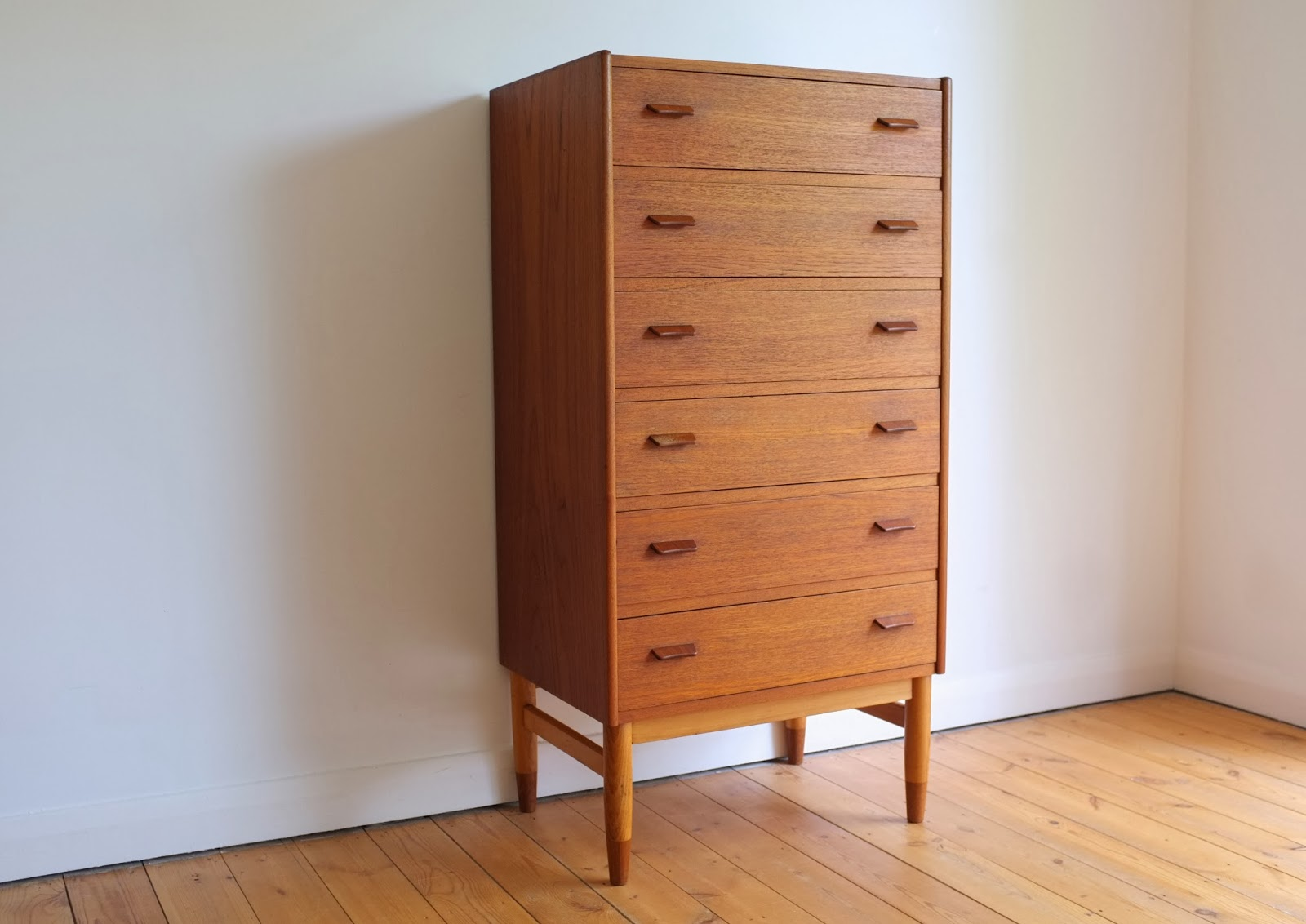 Teak Tallboy Chest Of Drawers Designed By Carl Aage Skov For Munch