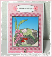 Baby girl card using digital stamp