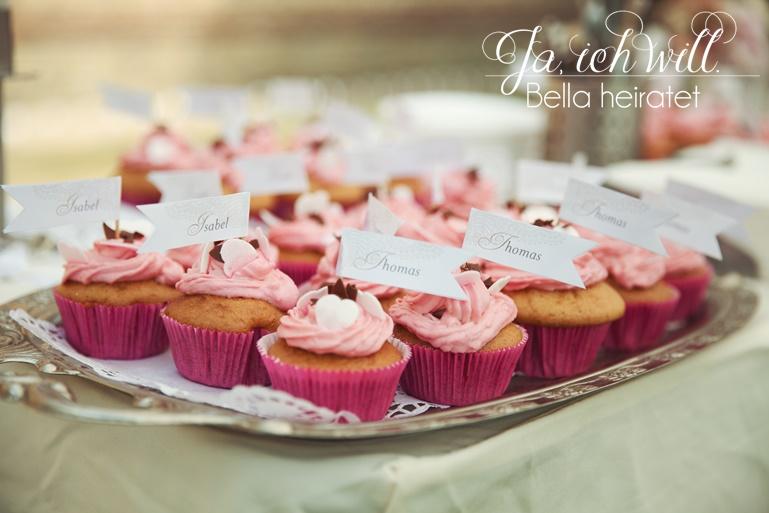 Hochzeitsfähnchen Cupcakes