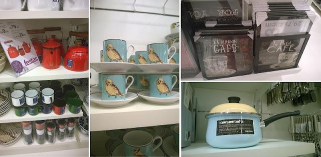 Tok&Stok: conjunto para chá e/ou café, poster com moldura e panela retrô