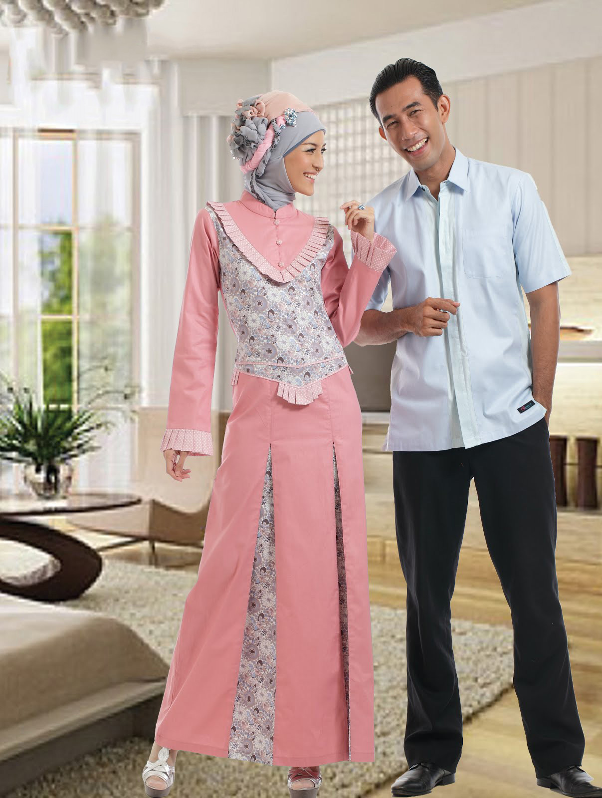 Contoh Model Gamis Batik Terbaru Baju Muslim line
