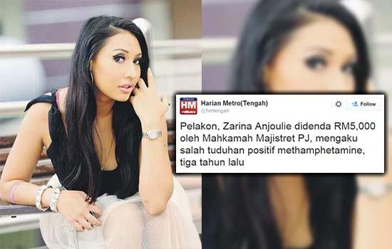 Zarina Anjoulie Akhirnya Mengaku Salah Tuduhan Positif Dadah
