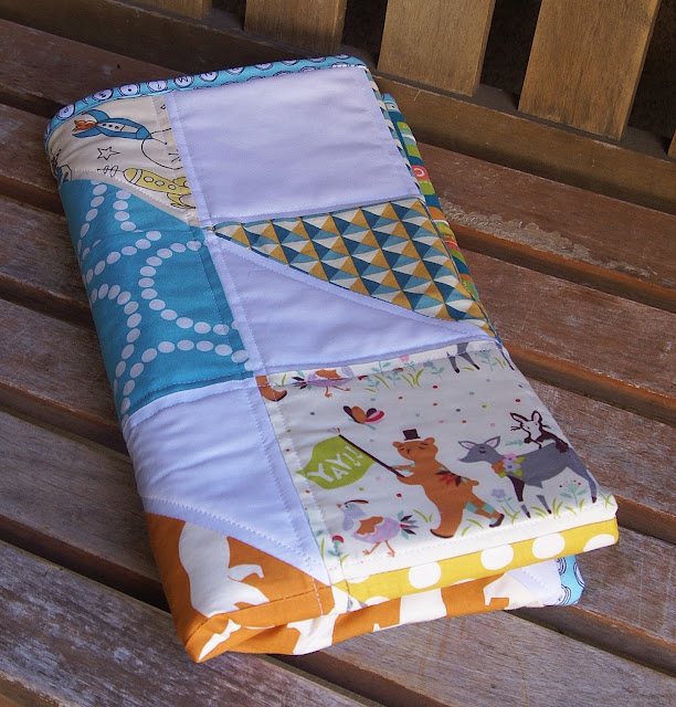 Modern Organic Chevron Baby Boy Quilt by Fabric Mutt