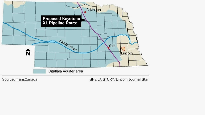 Proposed Keystone XL pipeline route through Nebraska.  Click to enlarge.