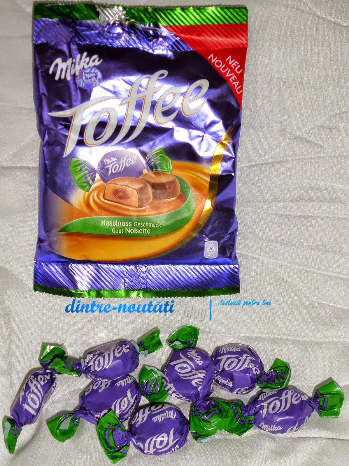 Bomboane de ciocolată cu lapte din Alpi (25%) umplute cu caramel moale (62%) și cremă de alune