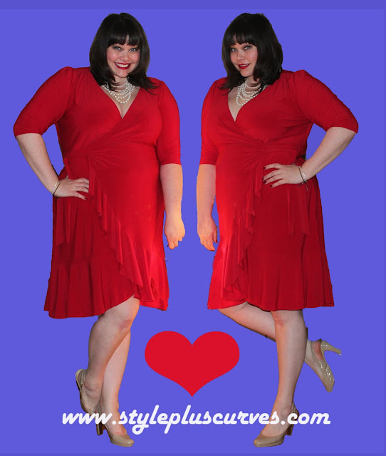 Amber from Style Plus Curves in Red Kiyonna Whimsy Wrap Dress