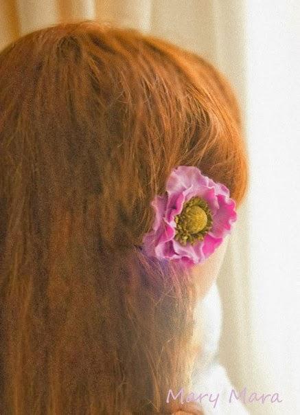 цветок из пластики мастер-класс, полимерная глина мастер-класс цветы, цветы-заколки своими руками