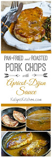 Pan-Fried and Roasted Pork Chops with Apricot-Dijon Sauce found on KalynsKitchen.com