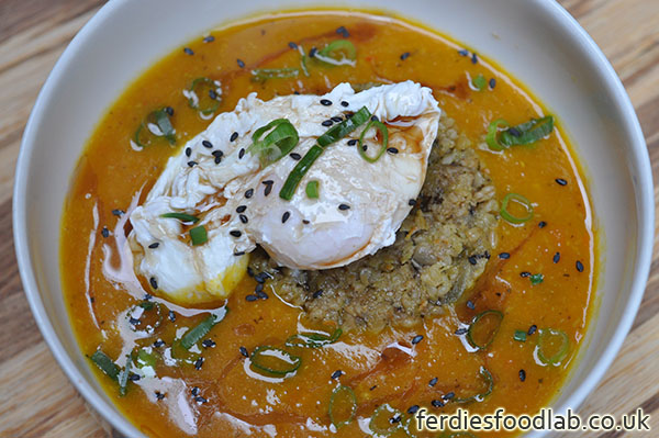Ferdiesfoodlab london supper club battersea vegetarian recipe vegetarian recipe vegetable soup w haggis poached egg topped w black sesame and sesame oil forumfinder Images