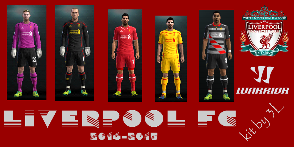 PES 2013 kit set Liverpool uniformes 2014/2015