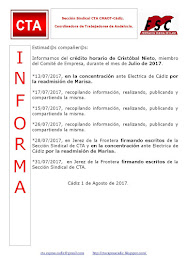 C.T.A. INFORMA CRÉDITO HORARIO CRISTOBAL NIETO, JULIO 2017