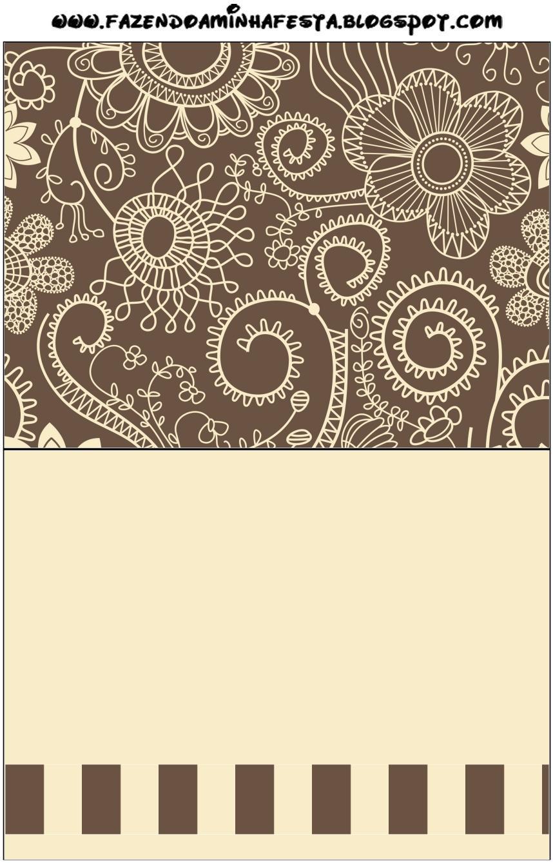 Invitaciones para imprimir gratis en marrón y beige rústico ...