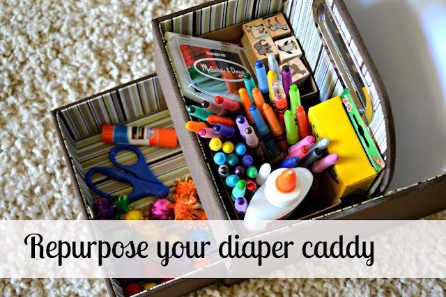 DIY Diaper caddy, JJ Cole Diaper Caddy, jj cole diaper caddy review, Art supply caddy, repurpose a diaper caddy,