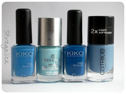 Kiko 386 Azzurro Pastello, Essence Fall For Me, Kiko 384 Blu Genziana e Catrice Up In The Air