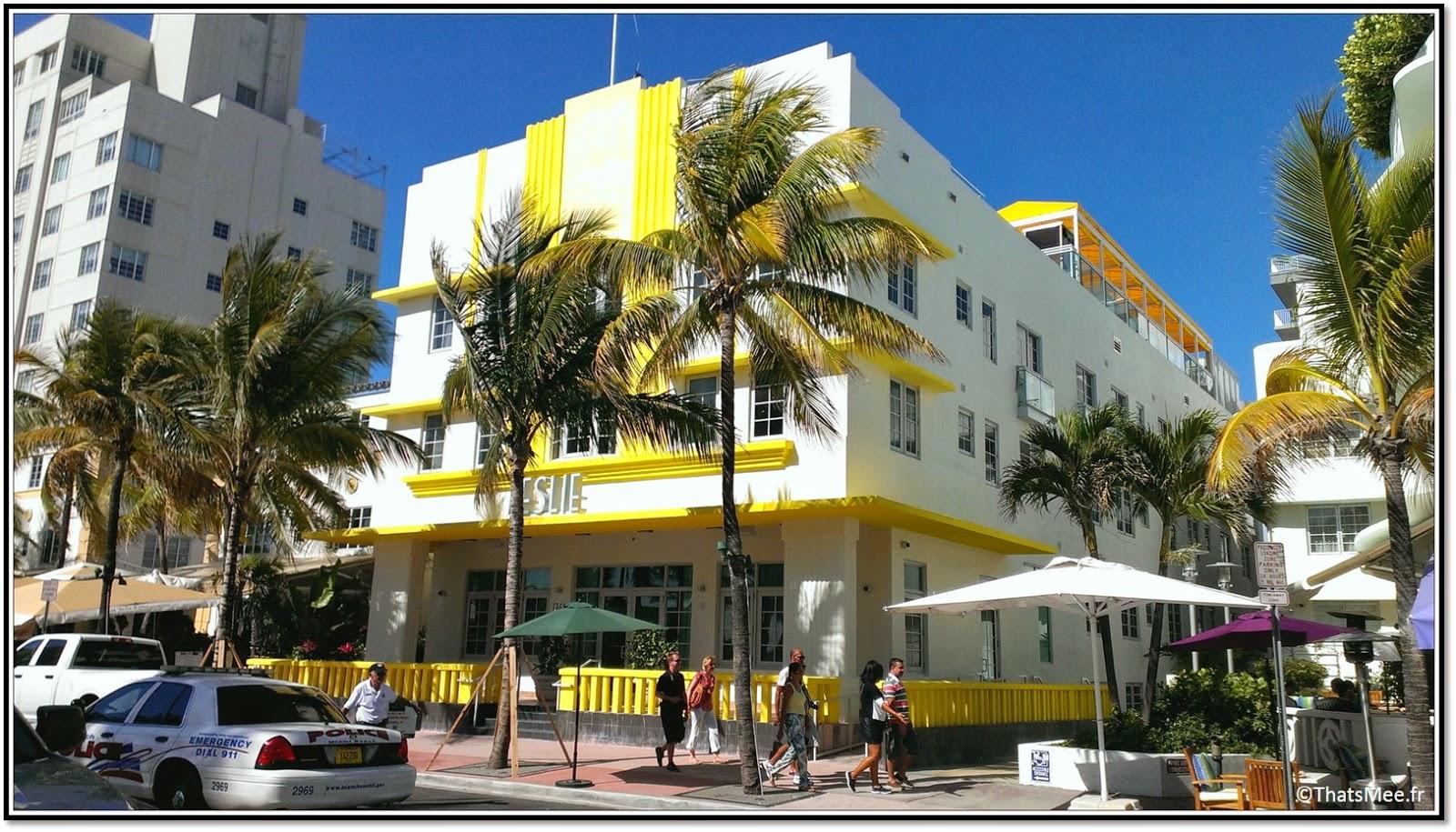 Miami Art deco building batiment Leslie blanc et jaune