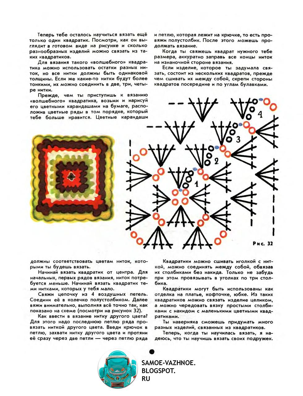 Как вязать квадрат крючком для начинающих пошагово схемы